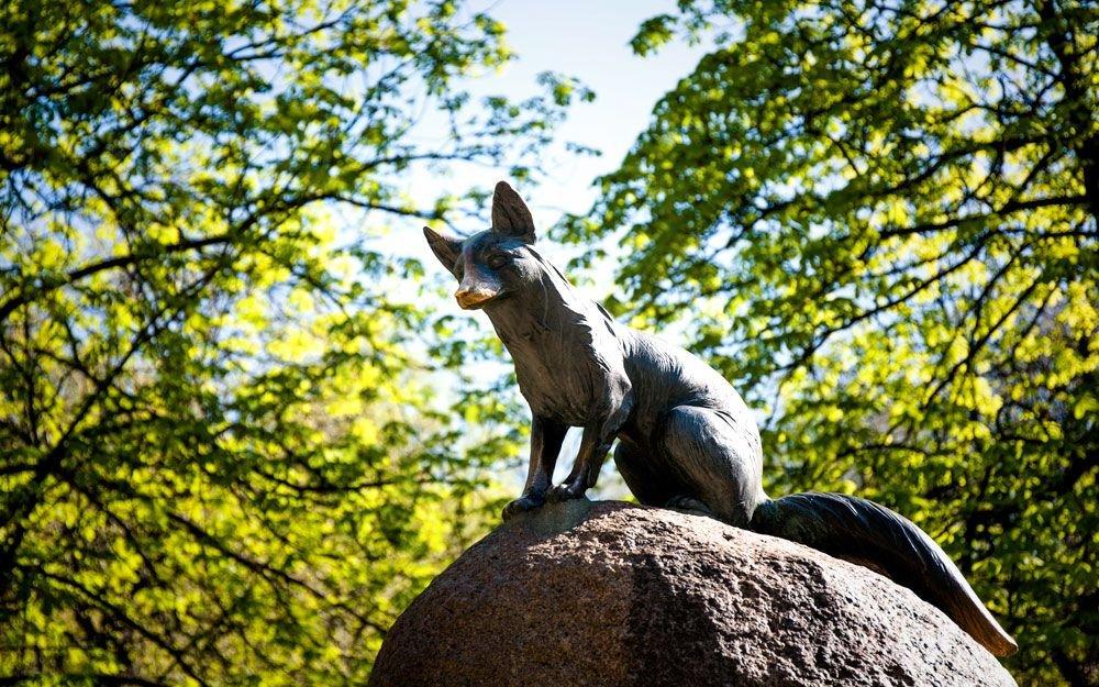 Od roku 1959 stál v oboře na paměť prvního zdejšího provedení Janáčkovy opery pomník Lišky Bystroušky. Na jaře roku 2015 ale lišku někdo ukradl, a tak kamenný podstavec nyní zeje prázdnotou. | © Yan Plíhal, AnFas