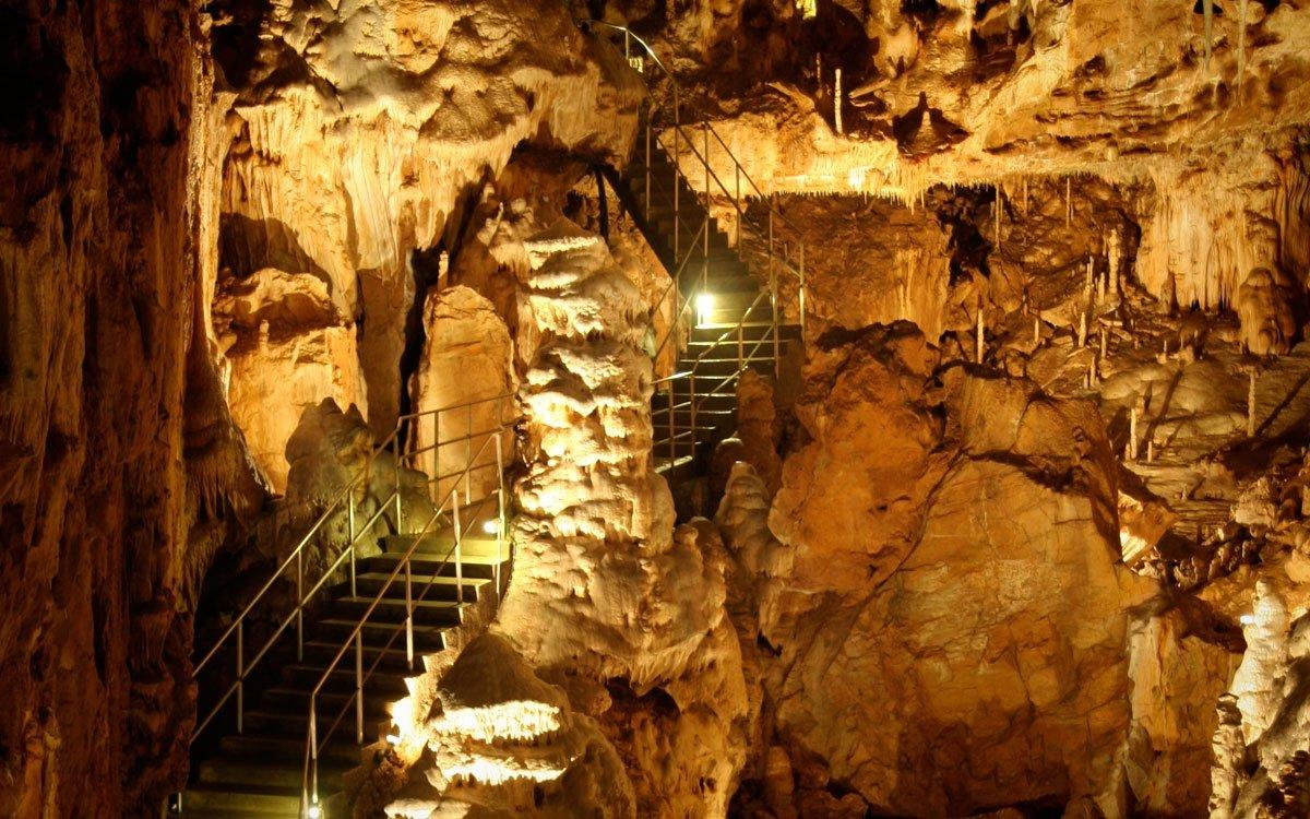 Impozantnímu Dómu Gigantů dominují přes čtyři metry vysoké stalagmity a stěna zdobená sintrovými náteky, takzvaný Niagarský vodopád. Krásný pohled na celý prostor je z visutého schodiště, které pokračuje dál vyhlídkovou trasou k Pohádkovým jeskyním. Javoříčské jeskyně jsou nefalšovanou encyklopedií krápníkových tvarů a forem. Tisíce jemných brček, nespočet tvarů hůlkových a mrkvových stalaktitů střídají stalaktity excentrické, unikátní jsou také krápníkové záclony či sférolitické krápníky. | z archivu města Olomouc