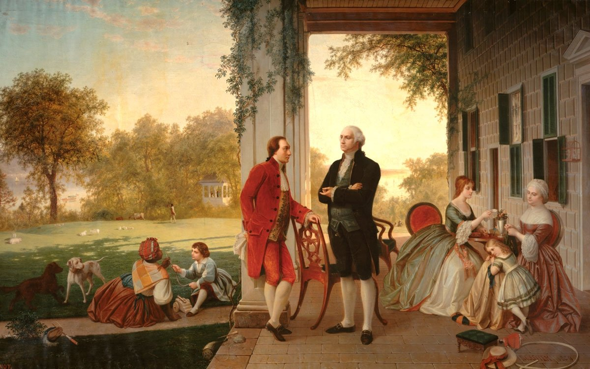 Markýze La Fayetta pojilo blízké přátelství s prvním americkým prezidentem Georgem Washingotem. Ani Washingtonova přímluva však Habsburky neobměkčila, aby svého vězně propustili. | (Louis Remy Mignot, 1784); Metropolitní muzeum umění v New Yorku