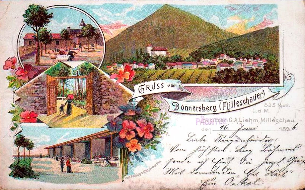 Kdo chtěl v 19. století patřit k lepší společnosti, musel se rozhlédnout z vrcholu Milešovky - nejvyšší hory Českého středohoří. Mohl tu stanout po boku takových velikánů jako byli Goethe, Humboldt nebo pruský král Friedrich Wilhelm III., který se sem vrátil celkem šestnáctkrát. | pohlednice z roku 1896 (Radomír Roup)