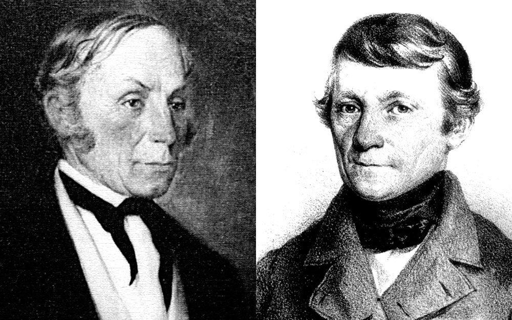 Dva velcí konkurenti a zároveň průkopníci hydroléčby: Johann Schroth (vlevo) a Vincenz Priessnitz (vpravo).