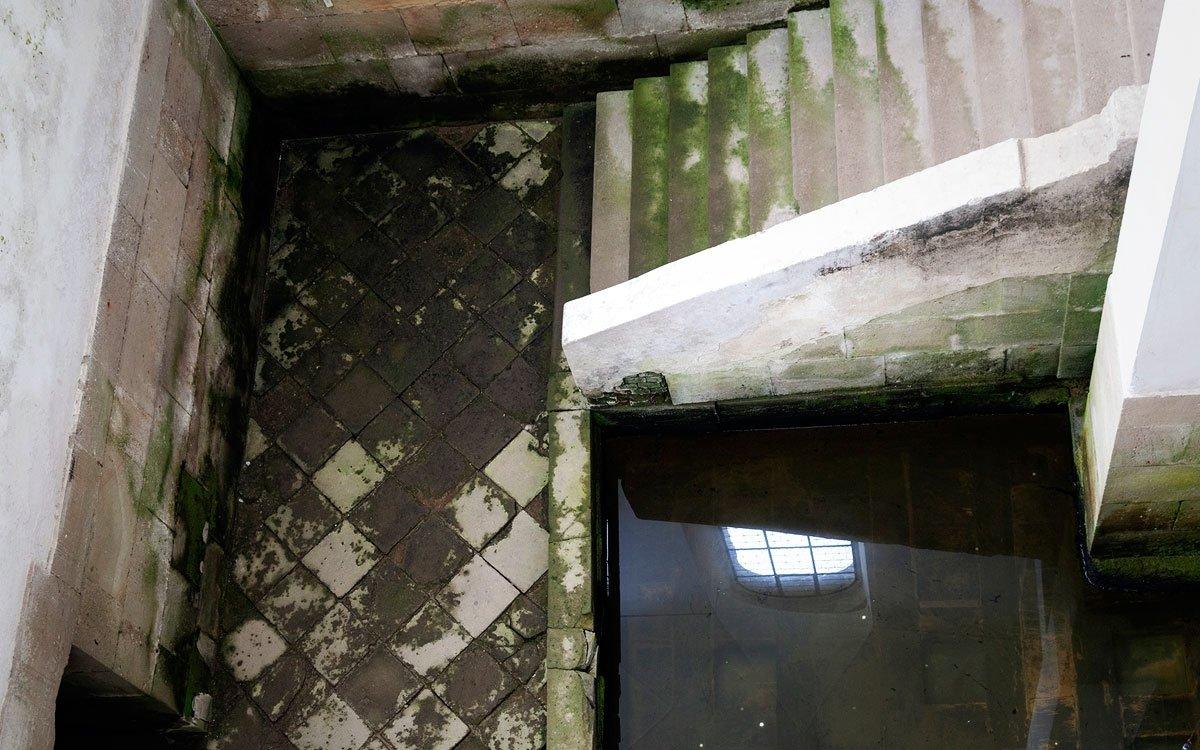 Jak ale stavět kláštery v bažinách? Při zakládání nového konventu v Plasech Santini použil geniální techniku – budovu postavil na dřevěném roštu, který leží na štěrkovém podloží. Rošt je v některých místech umístěn na dubových pilotech zaražených do bahna pod štěrkem, jejich počet dosahuje asi 5 000. Trvanlivost roštu zajišťuje jeho stálé uložení ve vodě, která je přiváděna systémem kanálů napájených místními prameny a nouzově také vodou z řeky Střely. | © Eva Kořínková